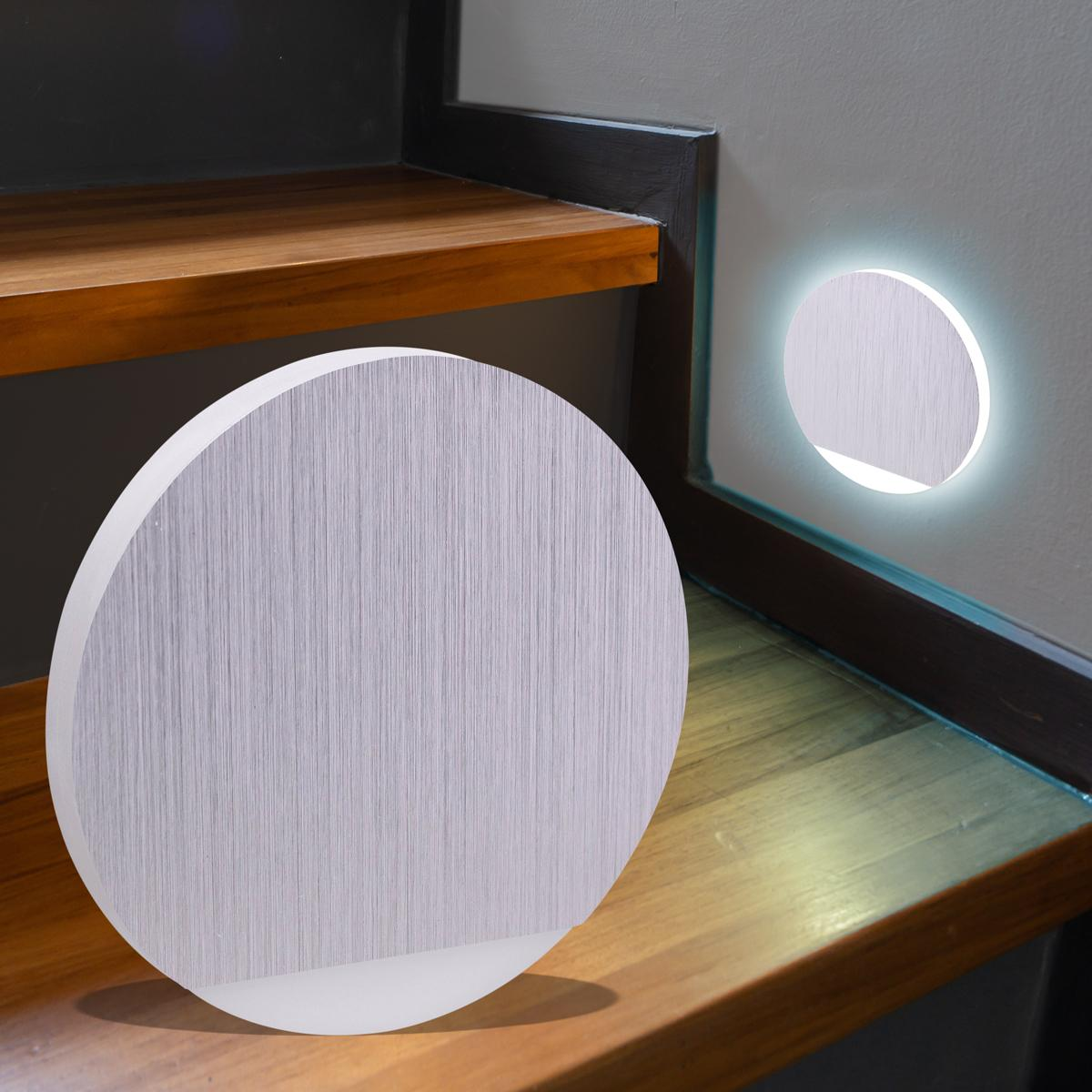 LED Treppenbeleuchtung rund Kaltweiß 230V 1.5W Alu-gebürstet Lichtaustritt seitlich&frontal