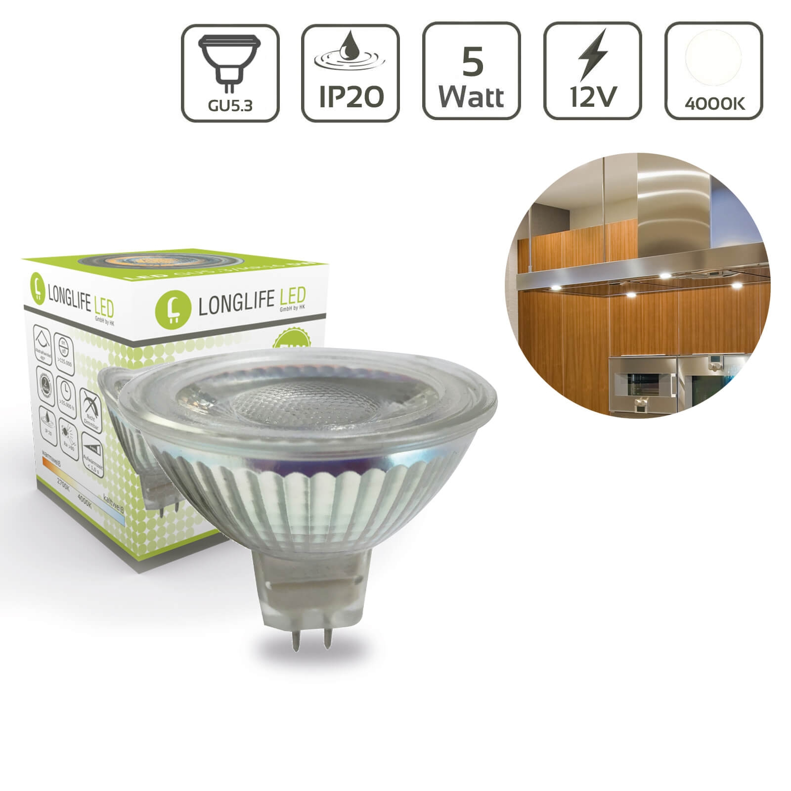 LED Spot GU5.3/MR16 5W 4000K 12VAC/DC 400lm 40°