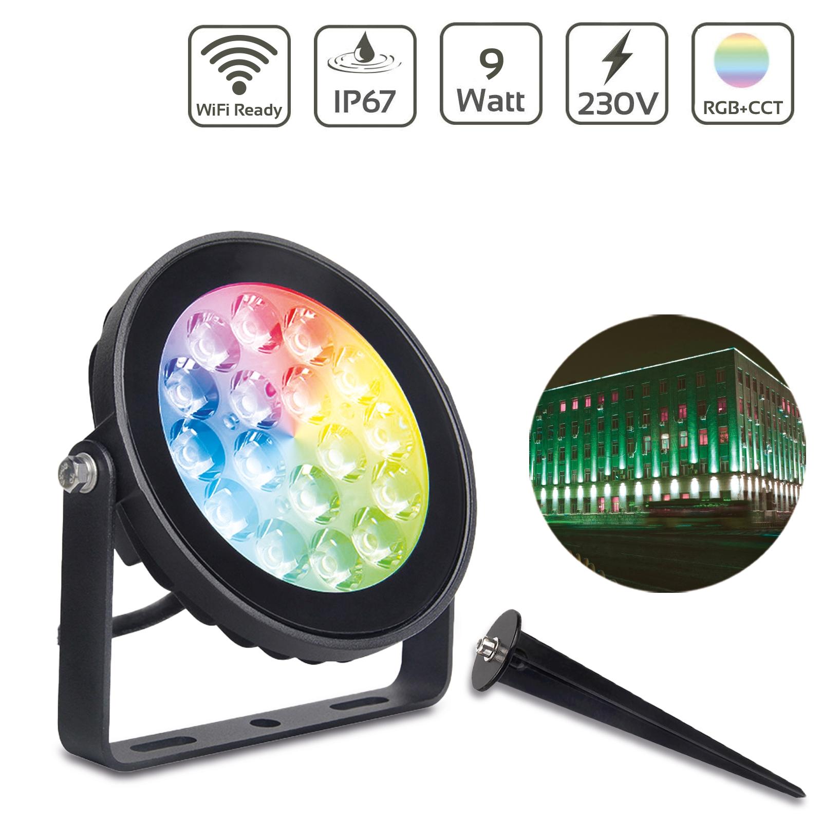 MiBoxer 9W RGB+CCT LED Gartenstrahler WiFi Gartenleuchte mit Erdspieß FUTC02
