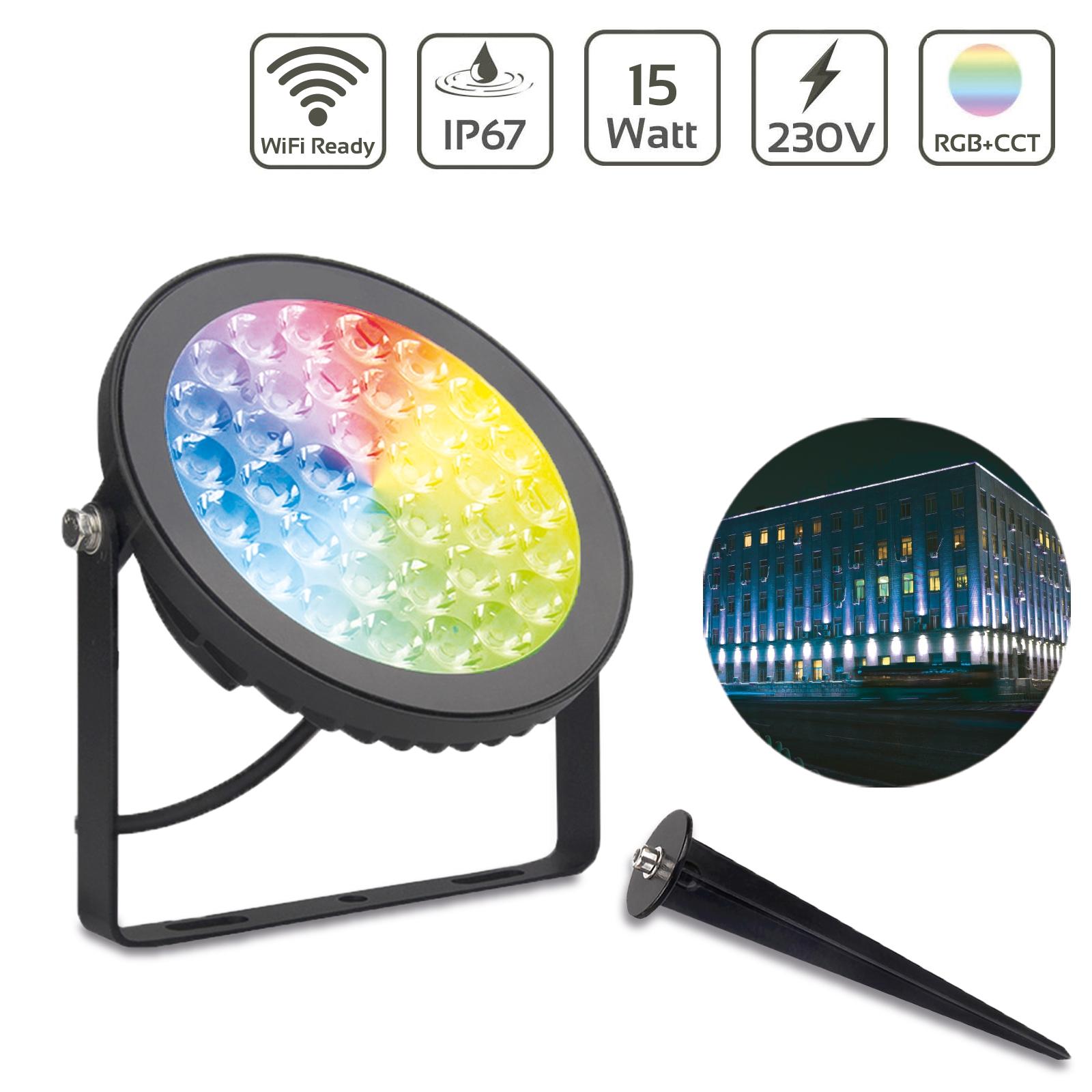 MiBoxer 15W RGB+CCT LED Gartenstrahler WiFi Gartenleuchte mit Erdspieß FUTC03
