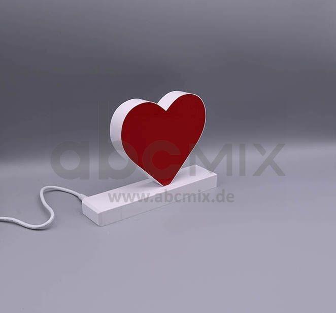 LED Buchstabe Click rotes Herz für 125 mm Arial 6500K weiß