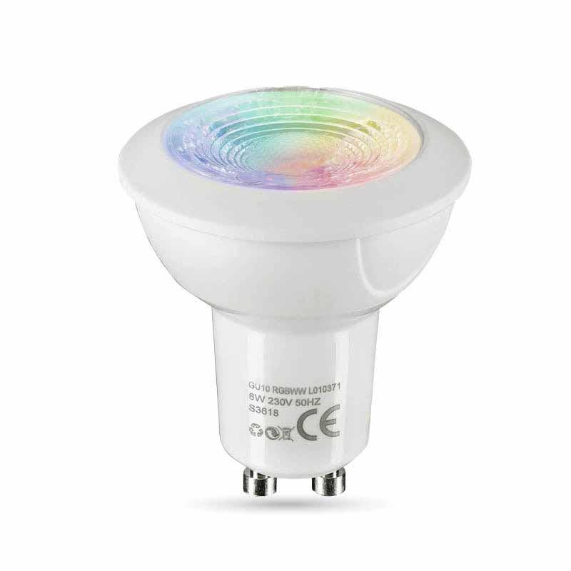 GU10 3W LED Spot RGB+WW Farbwechsel mit IR Fernbedienung, Dimmbar + Memory Funktion