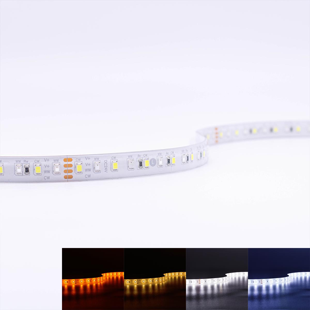 LED Full Spectrum CCT Strip SMD2835 DC 24V 18W/m IP65 120 LED/m 5m