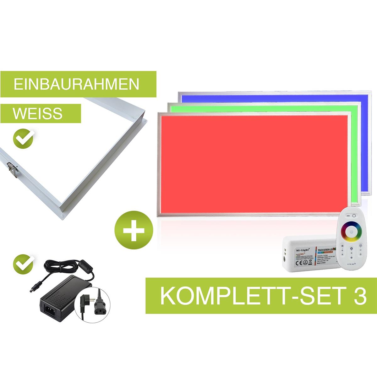 RGB LED Panel Set 3 120x60cm 48W 24V weiss