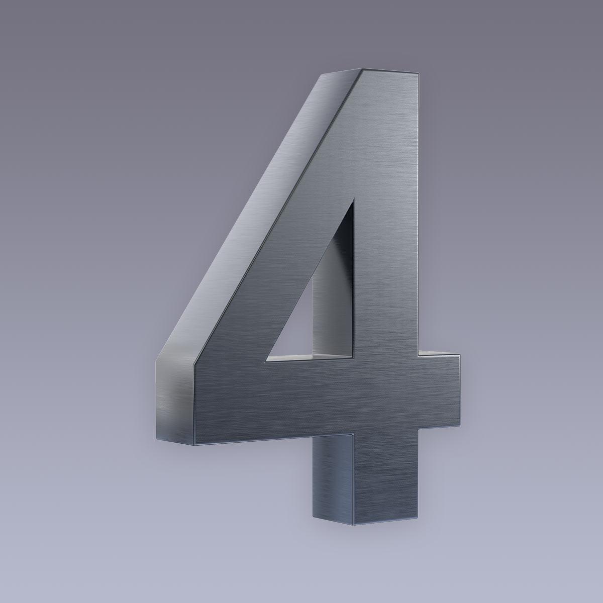 3D Hausnummer 4 Edelstahl anthrazit RAL7016 in 3D Design Arial