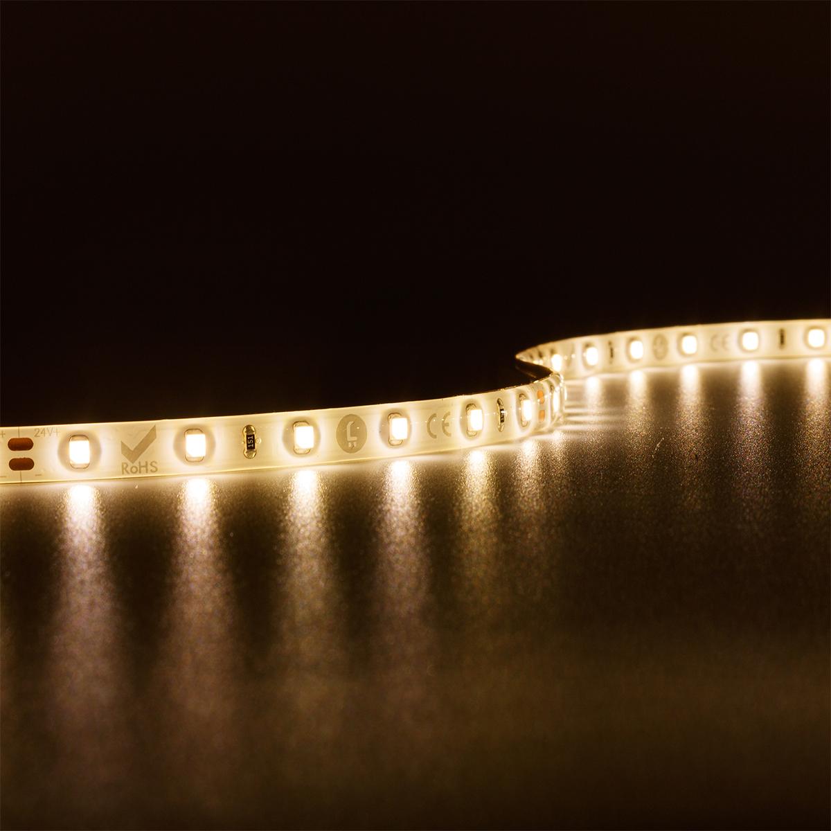 Strip Warmweiß 24V LED Streifen 10M 4,8W/m 60LED/m 8mm IP65 3000K