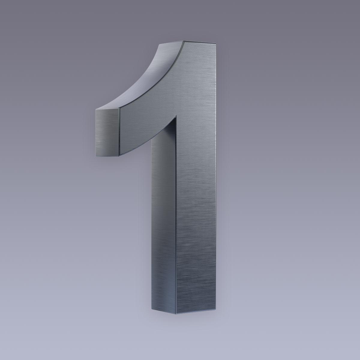 3D Hausnummer 1 Edelstahl anthrazit RAL7016 in 3D Design Arial