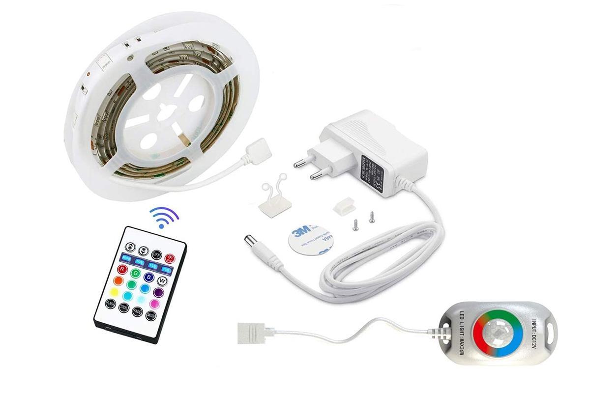 RGB LED Nachtlicht mit Bewegungsmelder, 1.5m Länge Bettlicht mit Fernbedienung Timer und Dimmer