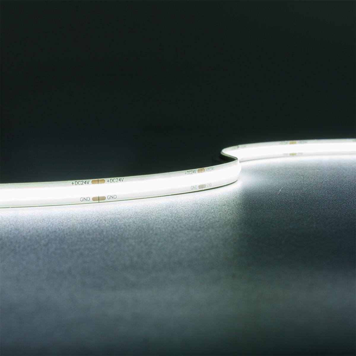 COB Kaltweiß 24V LED Streifen 5M 10W/m 528LED/m 8mm IP65 6000K