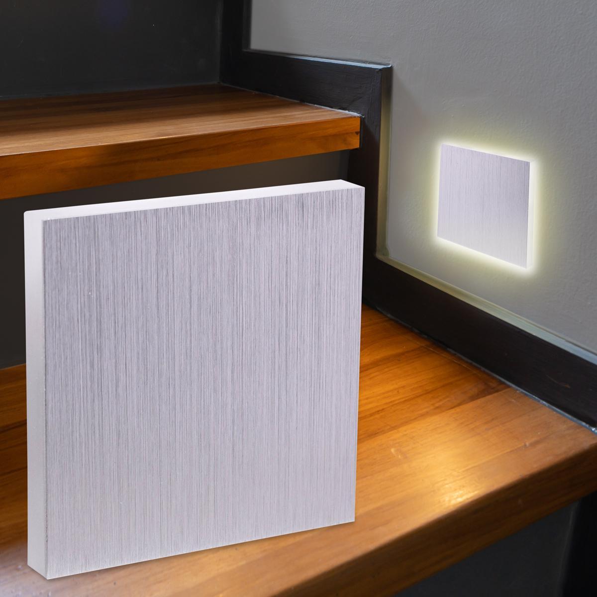 LED Treppenbeleuchtung Wandeinbauleuchte Warmweiß 230V 1.5W Alu-gebürstet Lichtaustritt seitlich