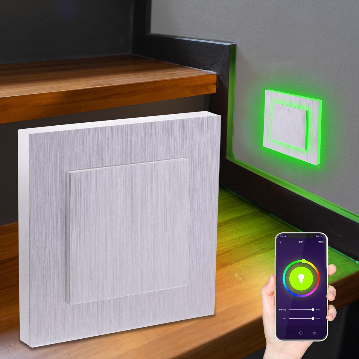 LED Treppenlicht Wandeinbauleuchte Smart Tuya RGB+CCT 230V 5W Alu-gebürstet Lichtaustritt seitlich/doppelt