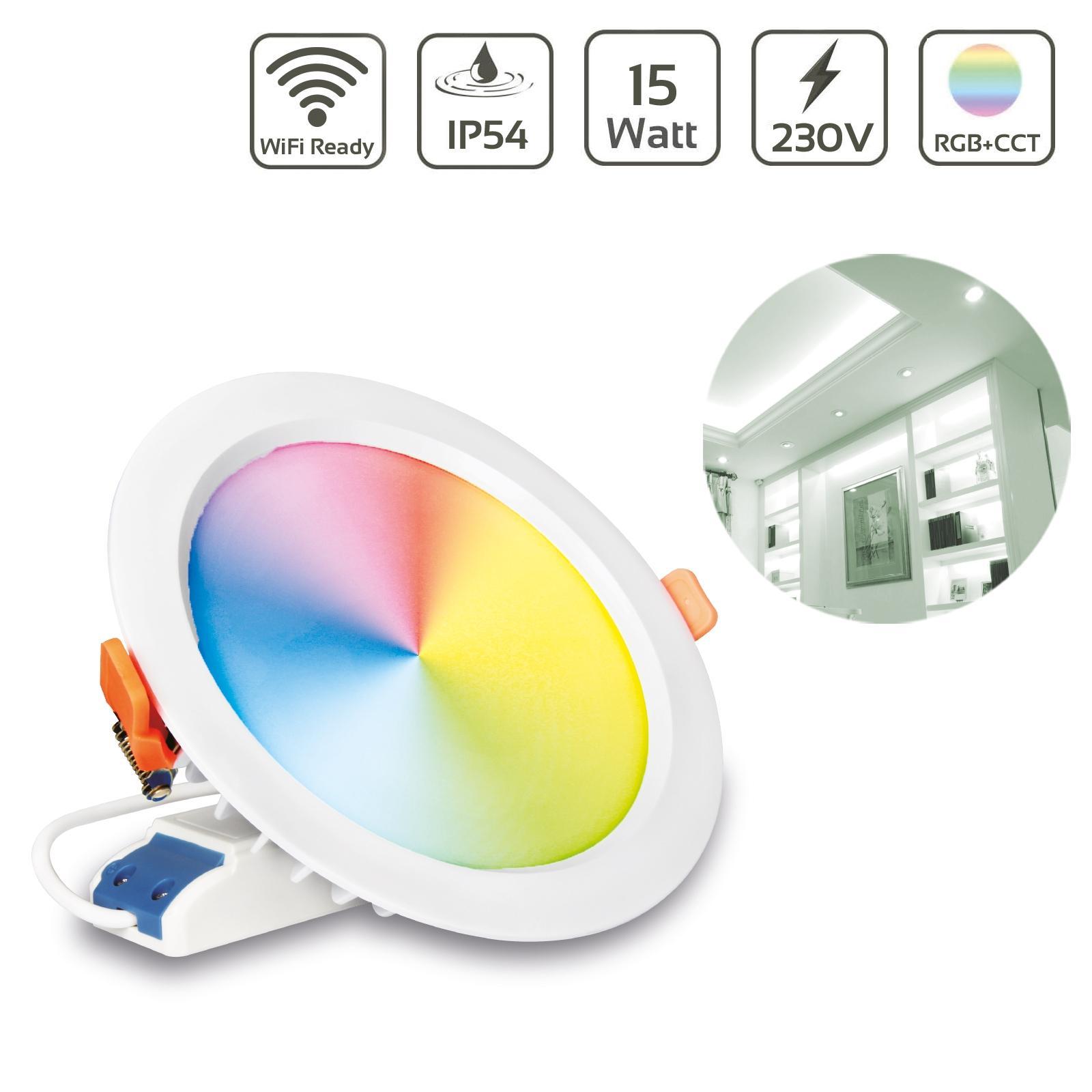 MiBoxer LED Einbaustrahler RGB+CCT 15W Ø190mm IP54 2,4GHz WiFiready FUT069