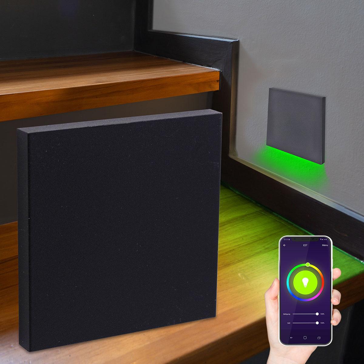 LED Treppenlicht Wandeinbauleuchte Smart Tuya RGB+CCT 230V 5W schwarz Lichtaustritt unten