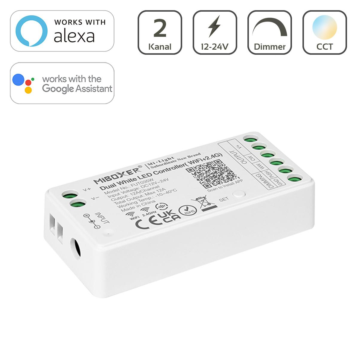 MiBoxer CCT WIFI LED Controller 2 Kanal 12/24V  WiFi Tuya Alexa Google Steuerung FUT035W