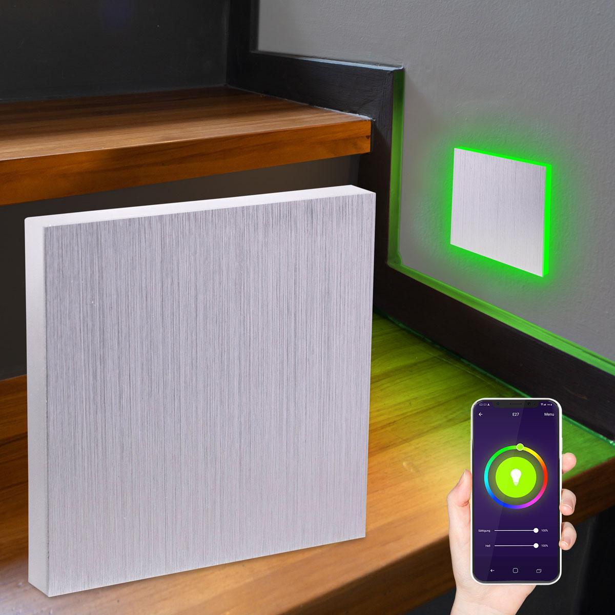 LED Treppenlicht Wandeinbauleuchte Smart Tuya RGB+CCT 230V 5W Alu-gebürstet Lichtaustritt seitlich
