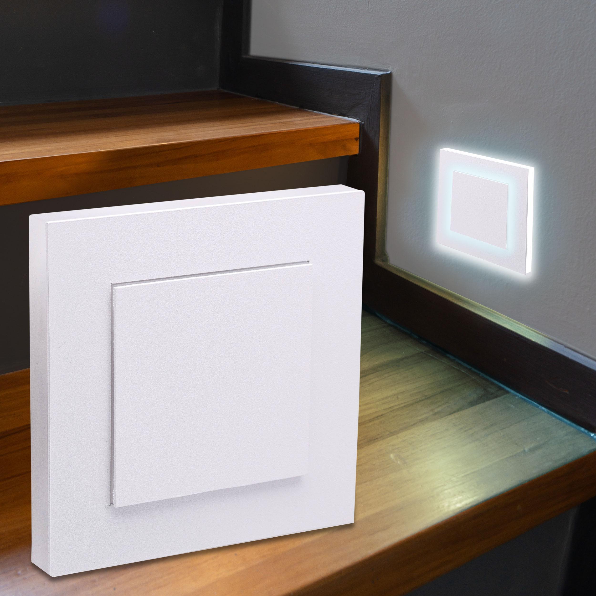 LED Treppenbeleuchtung Wandeinbauleuchte Kaltweiß 230V 1.5W weiß Lichtaustritt seitlich/doppelt