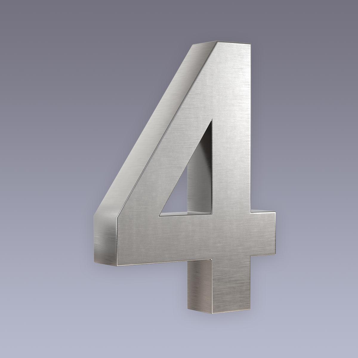 3D Hausnummer 4 Edelstahl in 3D Design Arial V2A