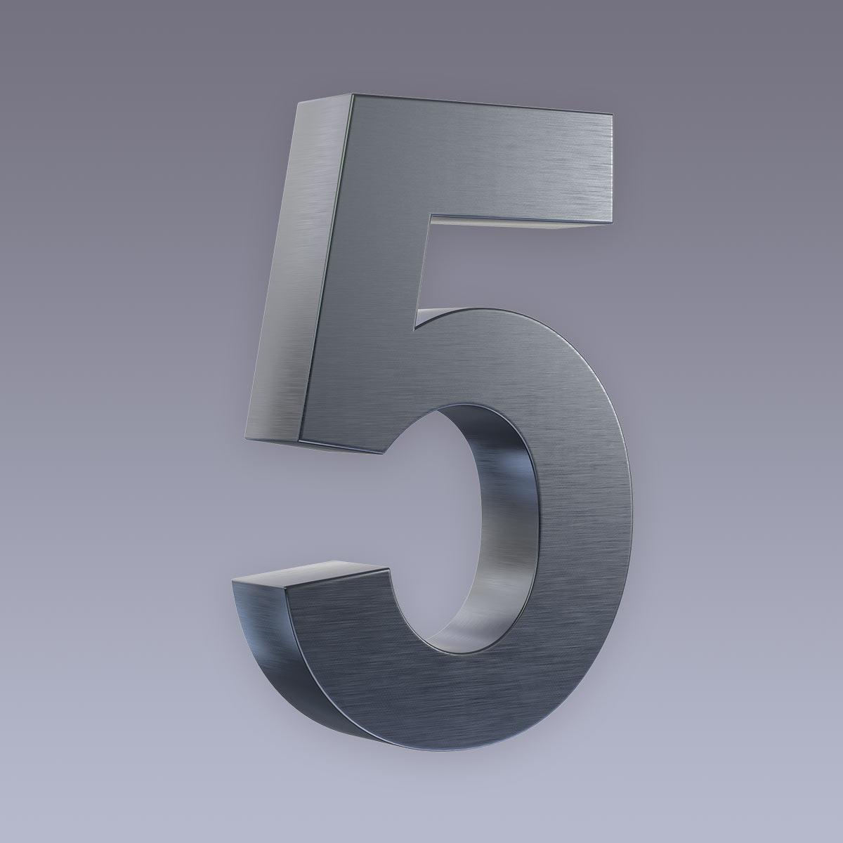 3D Hausnummer 5 Edelstahl anthrazit RAL7016 in 3D Design Arial