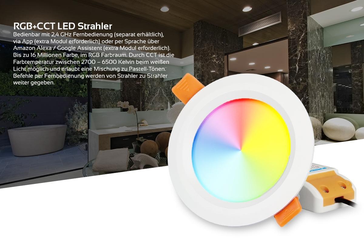 MiBoxer LED Einbaustrahler RGB+CCT 6W IP54 Ø111mm 2,4GHz WiFiready