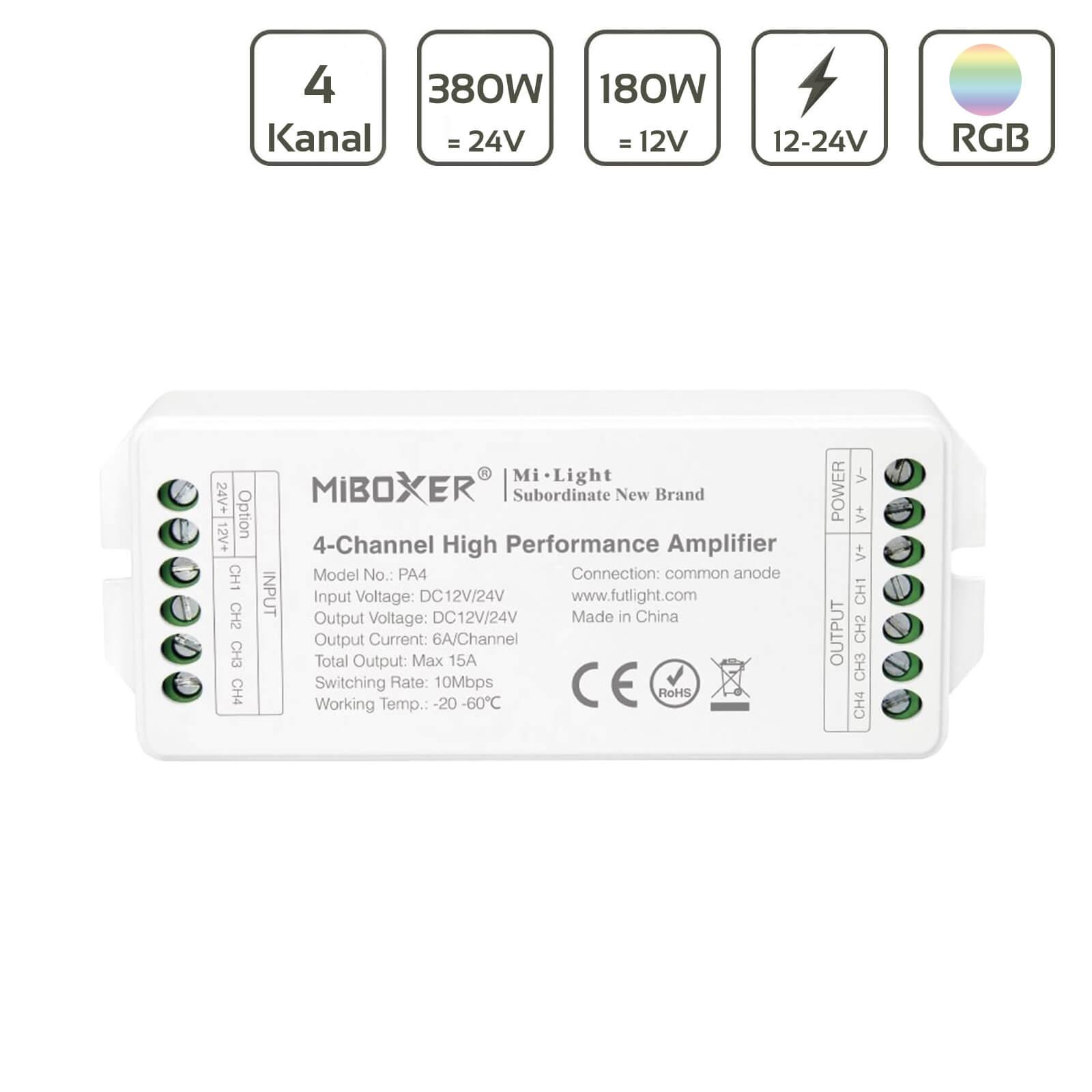 MiBoxer RGBW Verstärker/Amplifier 4 Kanal 12/24V PA4
