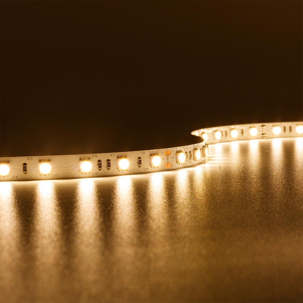 Strip Warmweiß 24V LED Streifen 5M 14,4W/m 60LED/m 10mm IP20 3000K