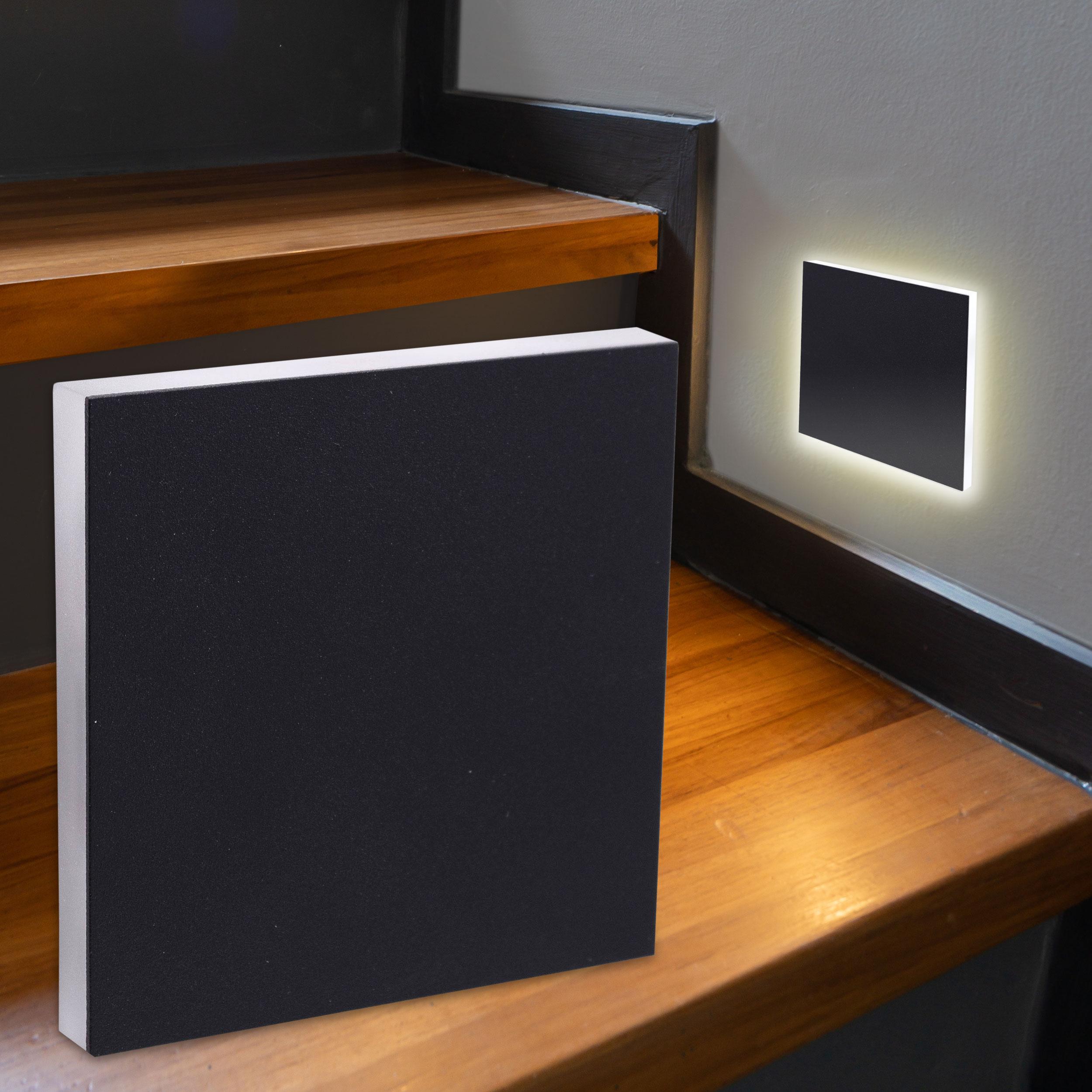 LED Treppenbeleuchtung Wandeinbauleuchte Warmweiß 230V 1.5W schwarz Lichtaustritt seitlich
