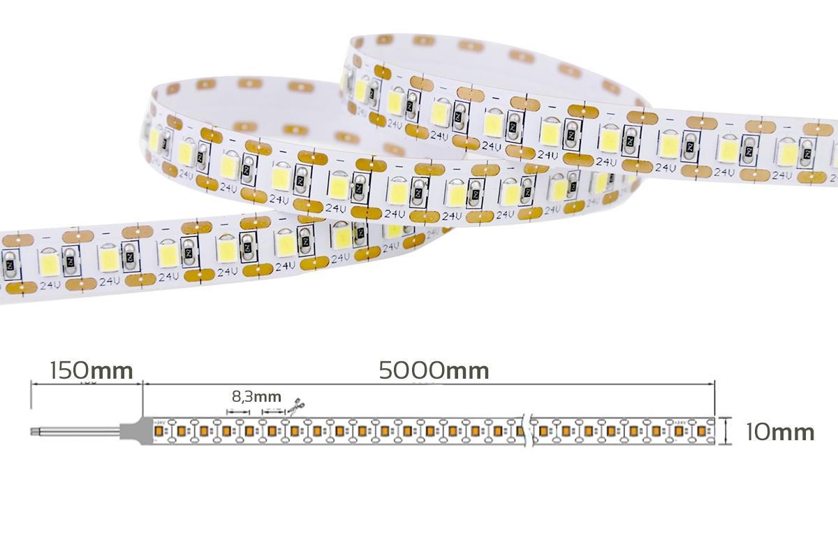 Single Cut Neutralweiß 24V LED Streifen 5M 15W/m 120LED/m 8mm IP65 4000K