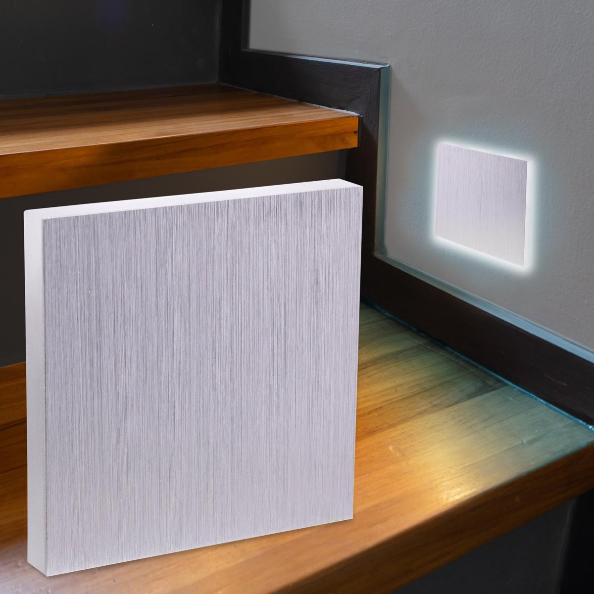 LED Treppenbeleuchtung Wandeinbauleuchte Kaltweiß 230V 1.5W Alu-gebürstet Lichtaustritt seitlich
