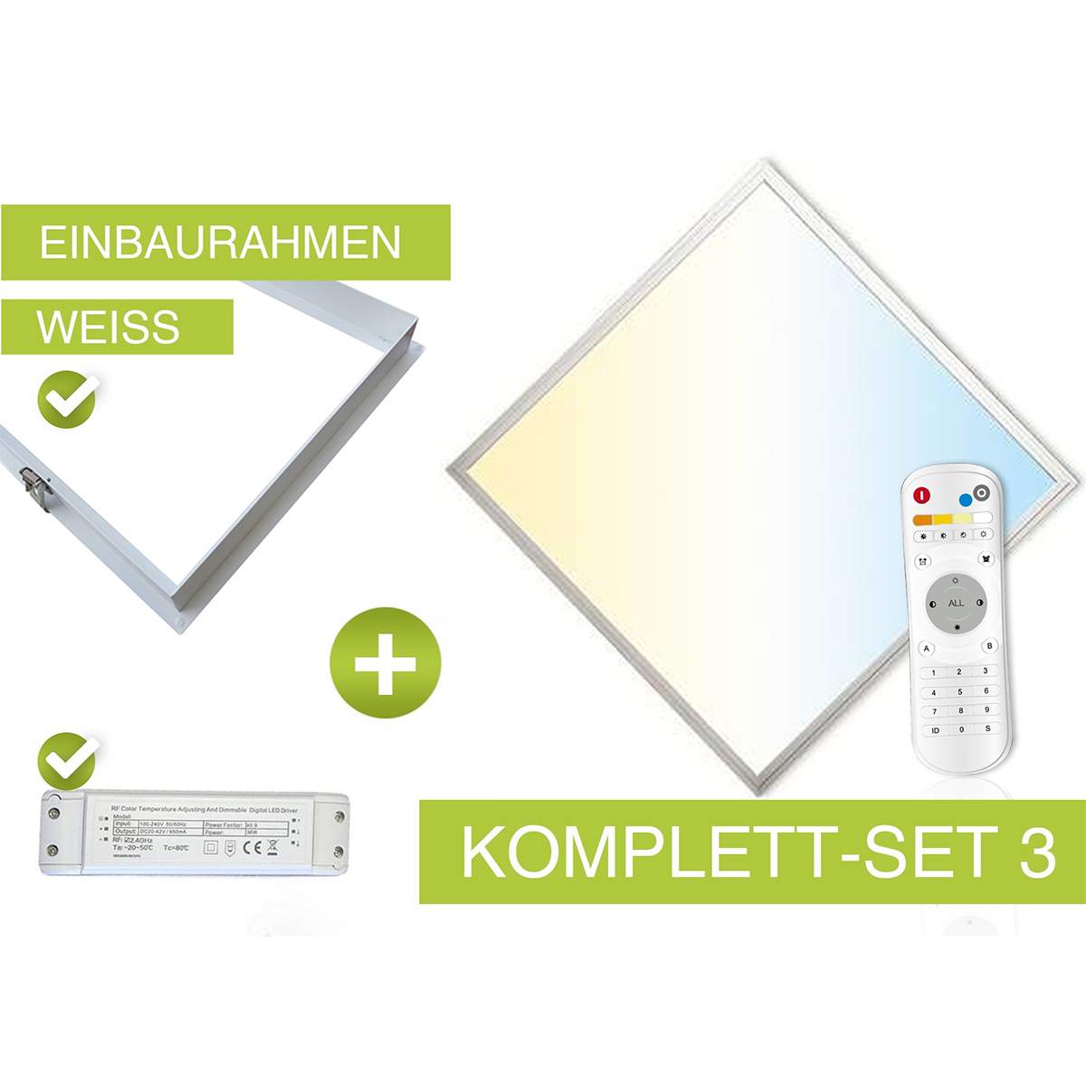 CCT LED Panel Set 3 62x62cm 36W 3000K-6000K weiss