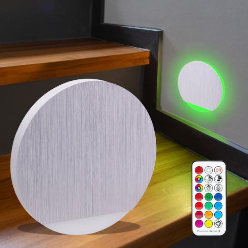 LED Treppenbeleuchtung rund RGB+Warmweiß 230V 3W Alu-gebürstet Lichtaustritt seitlich&frontal