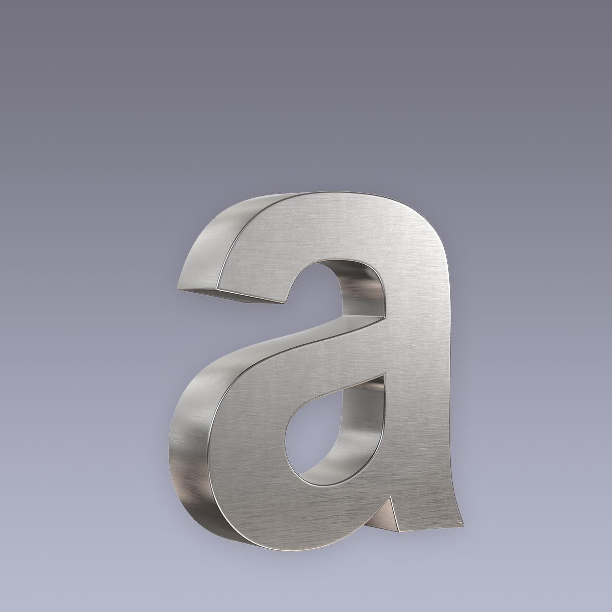 3D Hausnummer a Edelstahl in 3D Design Arial V2A