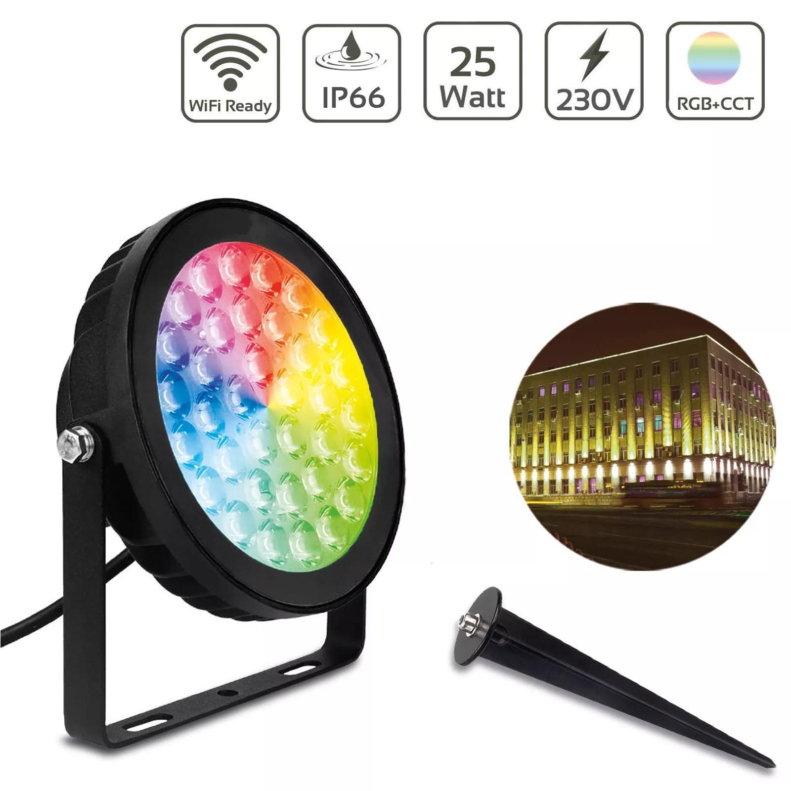 MiBoxer 25W RGB+CCT LED Gartenstrahler WiFi Gartenleuchte mit Erdspieß FUTC05
