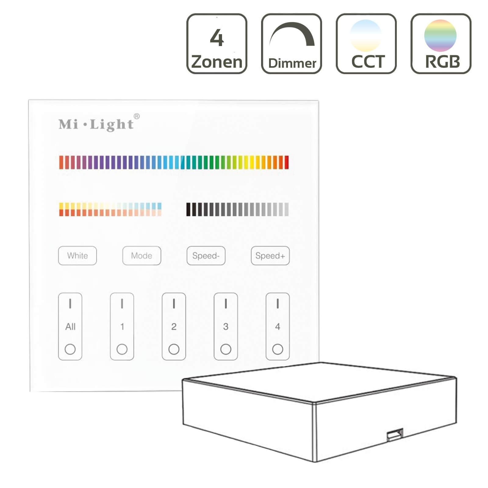 MiBoxer RGB+CCT Wandschalter 4 Zonen Aufbau Dimmen Schalten Farbsteuerung batteriebetrieben B4