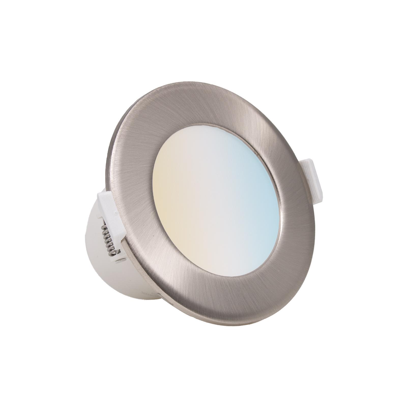 LED Einbaustrahler CCT 7W Ø95mm dimmbar Eisen-gebürsteter Aufsatzring