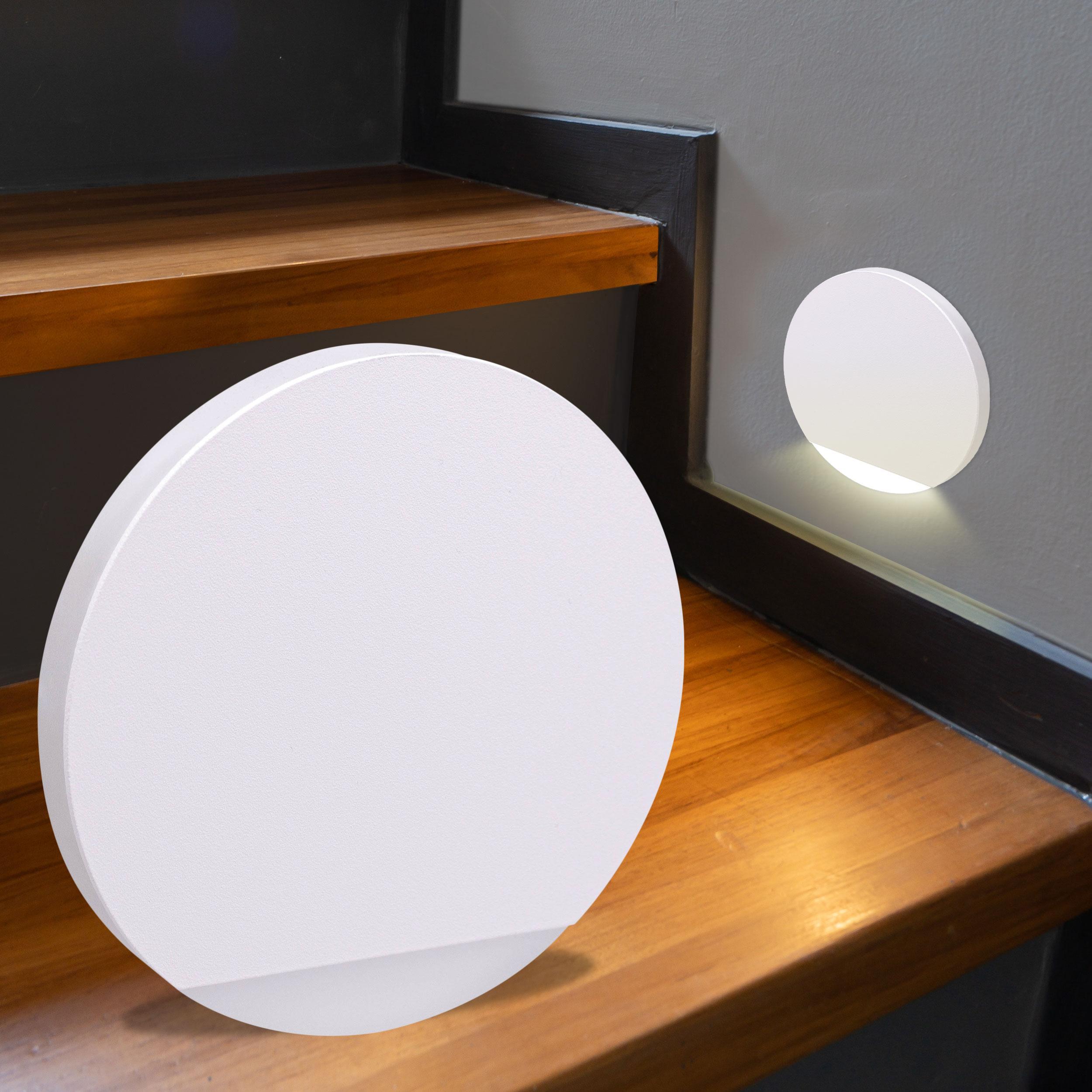 LED Treppenbeleuchtung rund Warmweiß 230V 1.5W weiß Lichtaustritt seitlich&frontal