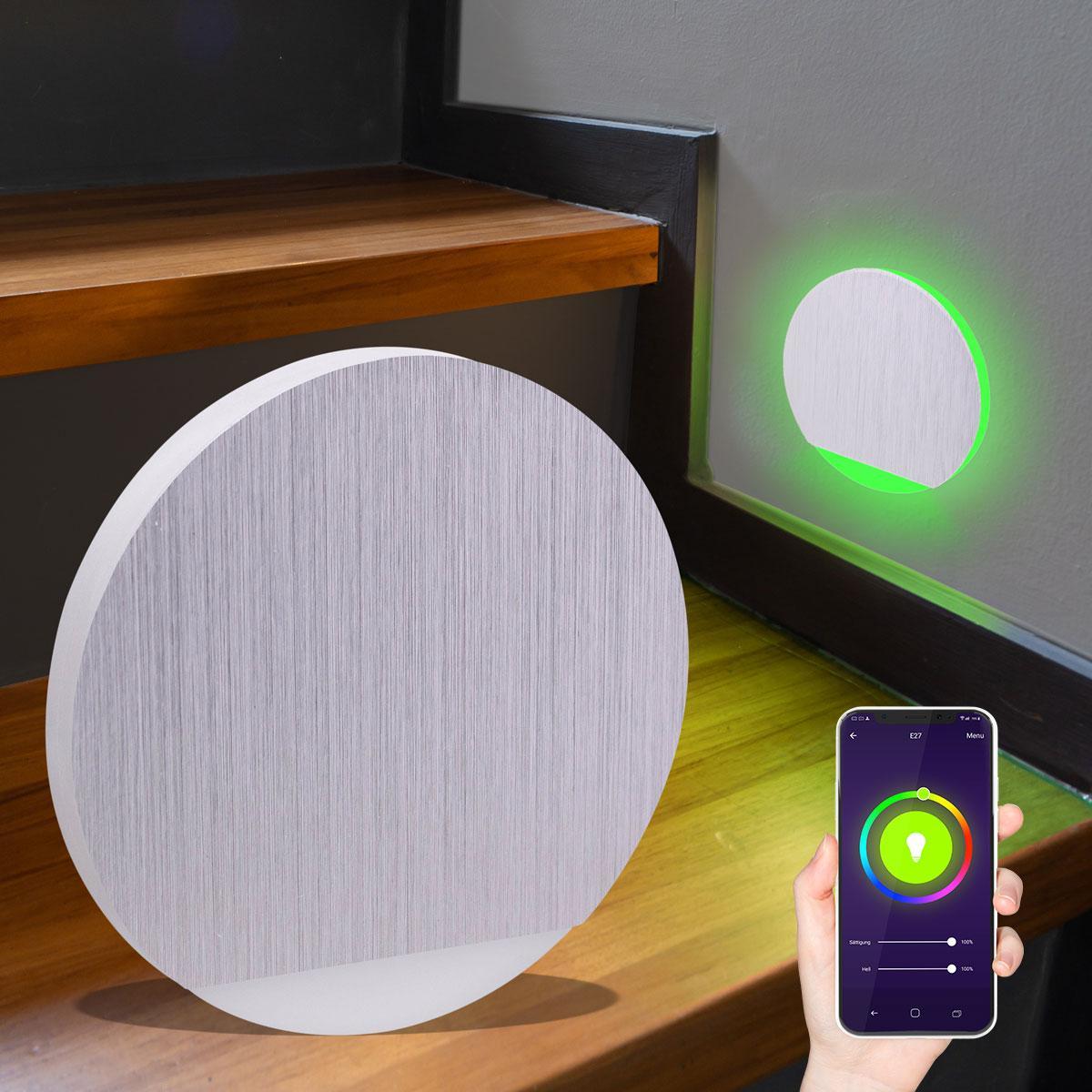 LED Treppenlicht rund Smart Tuya RGB+CCT 230V 5W Alu-gebürstet Lichtaustritt seitlich&frontal