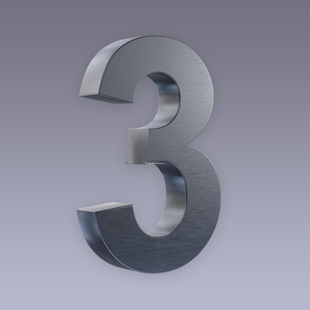 3D Hausnummer 3 Edelstahl anthrazit RAL7016 in 3D Design Arial