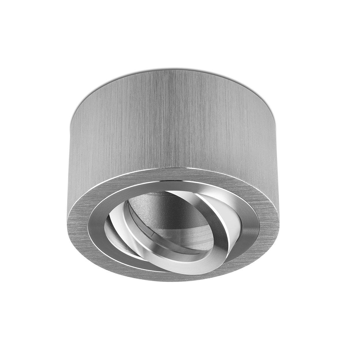Flacher Aufbaustrahler, silber gebürstet, runde Form - Abdeckring: silber - LED Modul: ohne