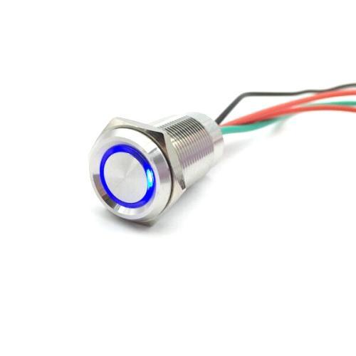 Touch Einbaudimmer rund 12V/24V Ø16x19mm Blue LED