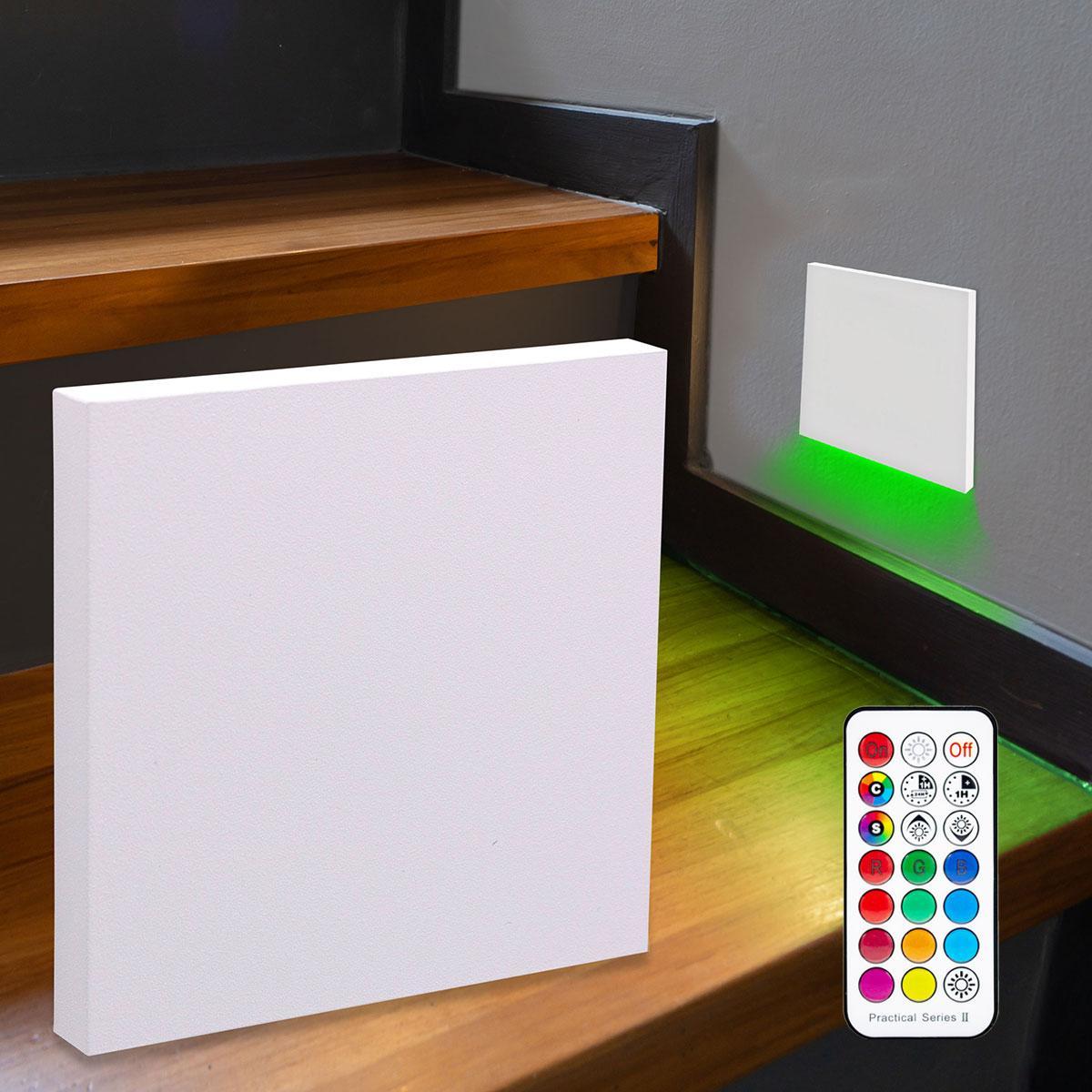 LED Treppenbeleuchtung Wandeinbauleuchte RGB+Warmweiß 230V 3W weiß Lichtaustritt unten