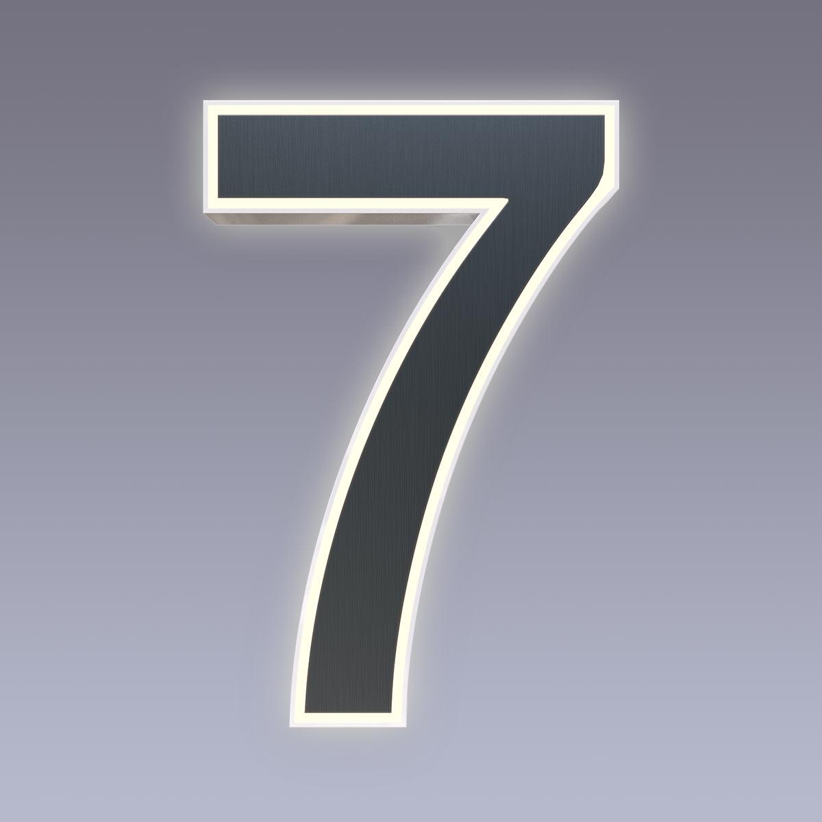 Cover für 15cm Hausnummer 7 Edelstahl anthrazit RAL7016 Arial selbstklebend