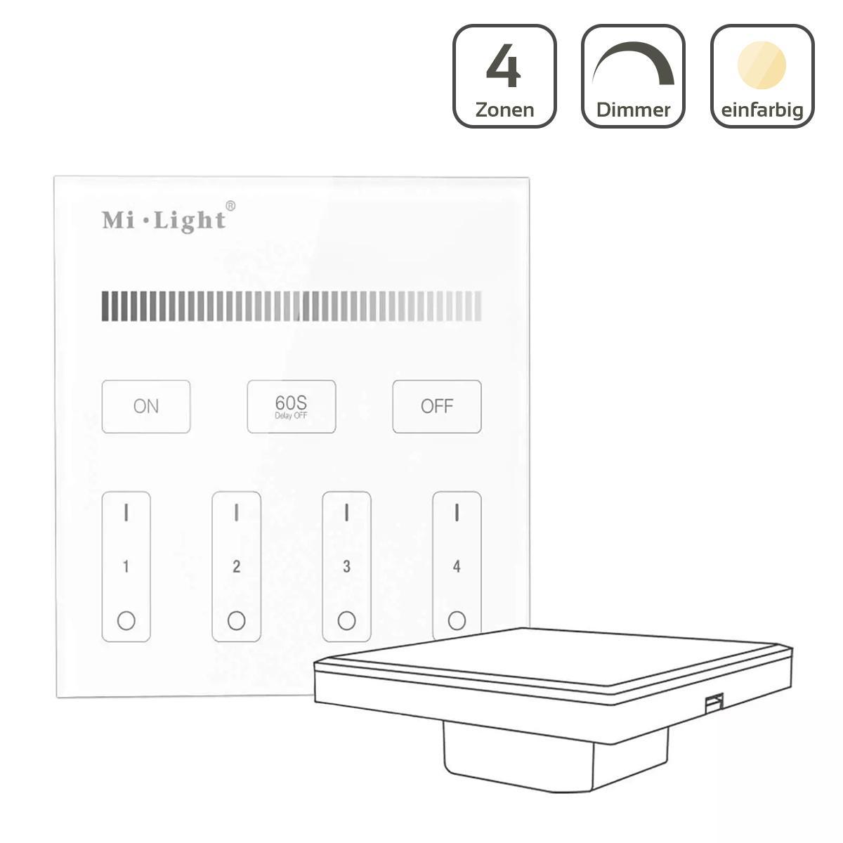 MiBoxer Wandschalter 4 Zonen Einbau Dimmen Schalten 230V Anschluss T1