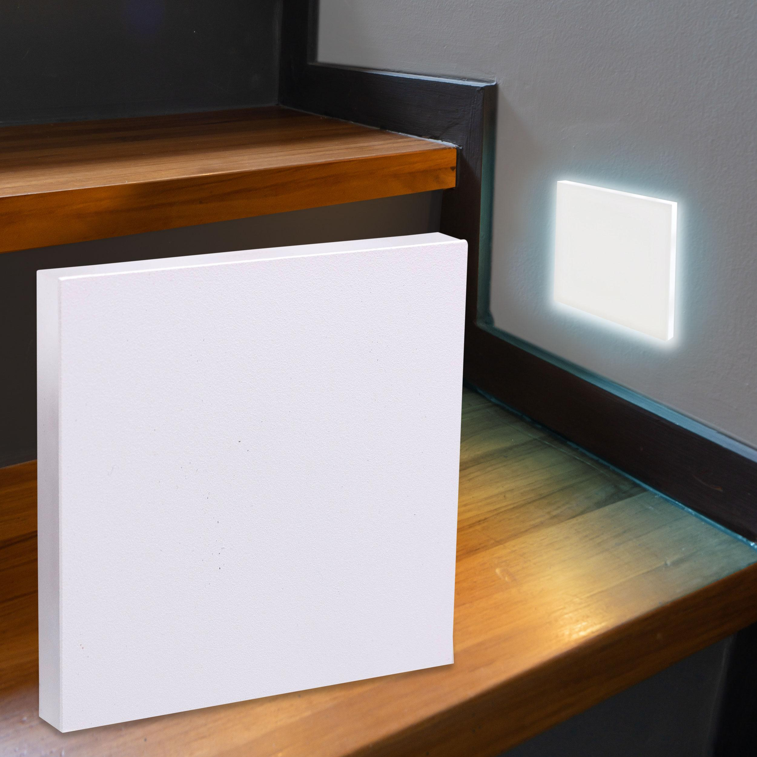LED Treppenbeleuchtung Wandeinbauleuchte Kaltweiß 230V 1.5W weiß Lichtaustritt seitlich