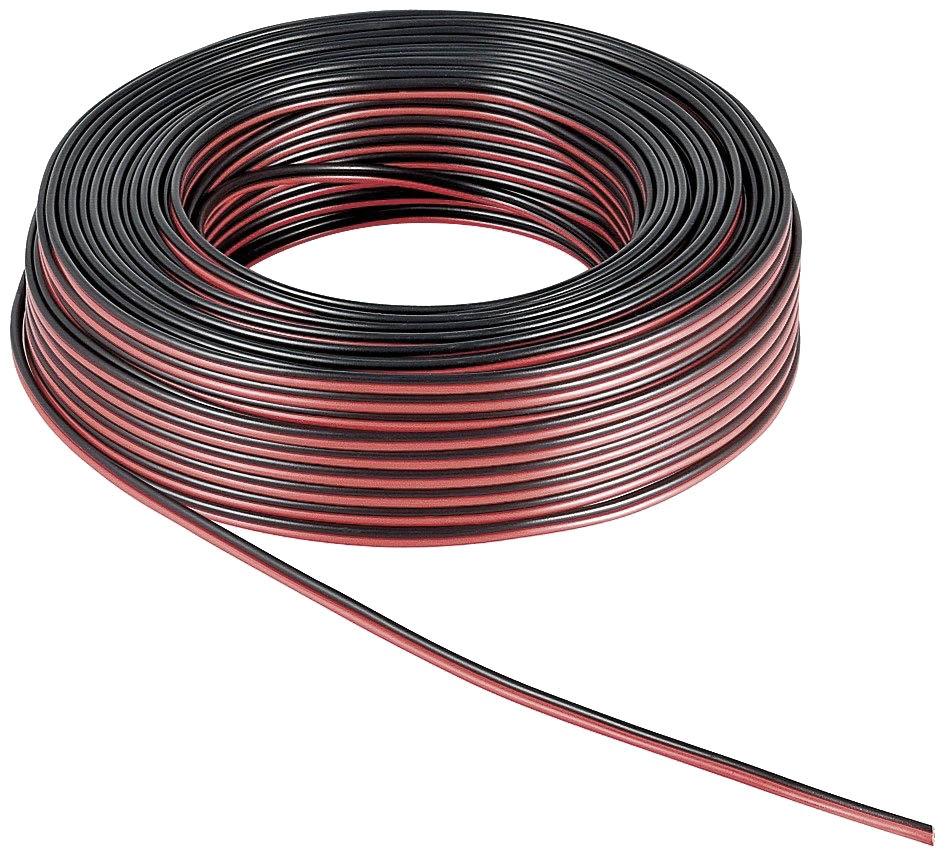Kabel 2-adrig Rot/Schwarz 50 Meter Rolle